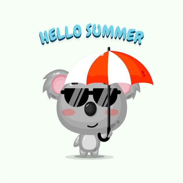 Jolie mascotte de koala portant un parapluie avec des salutations d'été