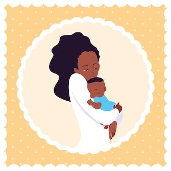 Jolie mère afro avec petit fils dans un cadre circulaire