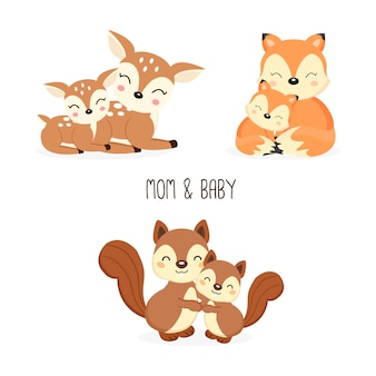 Jolie mère et bébé animaux de la forêt. renards, cerfs, dessin animé d'écureuils.