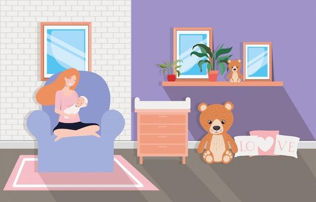 Jolie mère avec bébé nouveau-né dans le salon