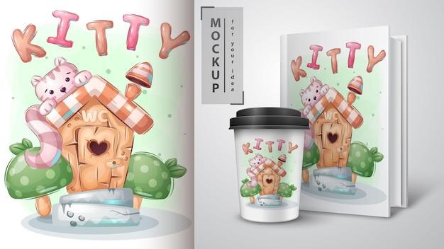 Jolie minou en affiche de toilette et merchandising