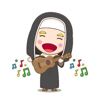 Jolie nonne jouant de la guitare