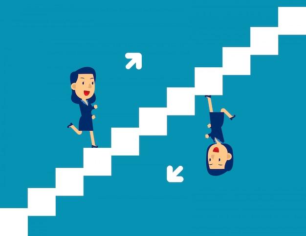 Jolie personne qui monte et descend les escaliers