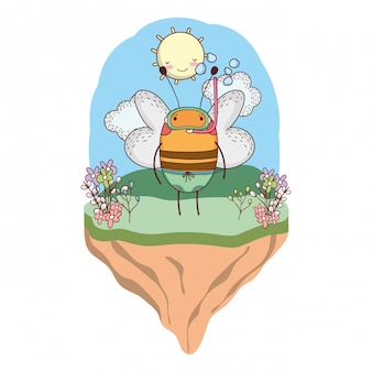 Jolie petite abeille avec tuba dans le camp