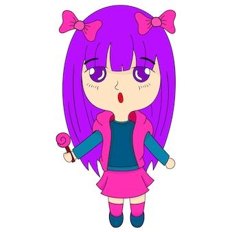 Jolie petite fille apporte des bonbons. dessin animé illustration vectorielle