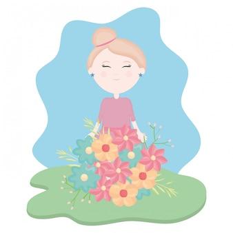 Jolie petite fille avec bouquet floral dans le champ
