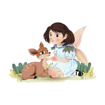Jolie petite fille avec des cerfs