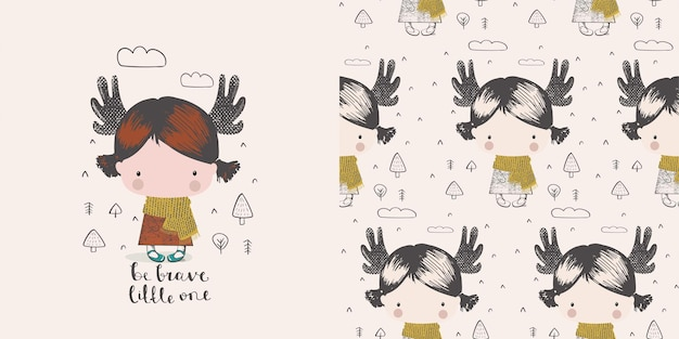 Jolie petite fille dans la forêt avec des cornes d'orignal caractère de couleur dessiné à la mainscandinave