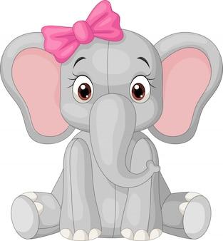 Jolie petite fille éléphant assise