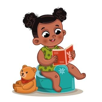 Jolie petite fille ethnique s'entraînant à la propreté et lisant un livre illustration vectorielle