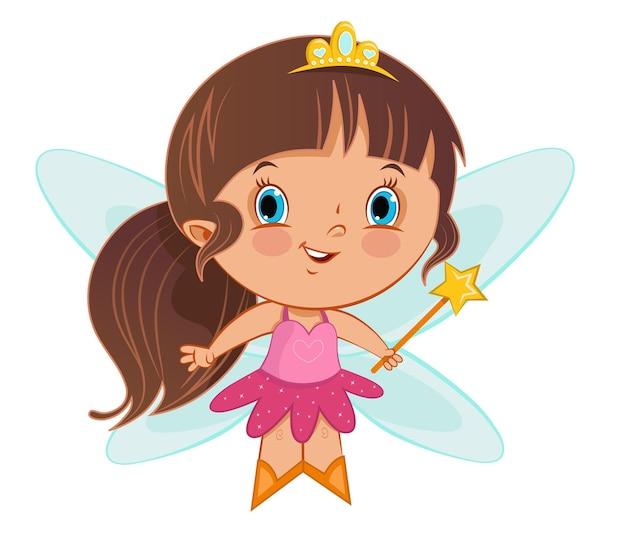 Jolie petite fille en illustration de costume de fée