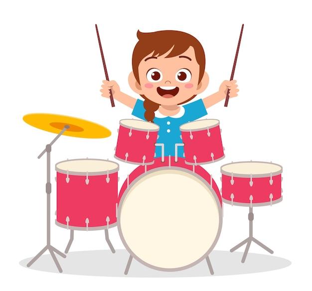 Jolie Petite Fille Joue Du Tambour En Concert Vecteur Premium