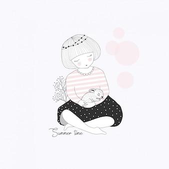 Jolie petite fille avec un lapin