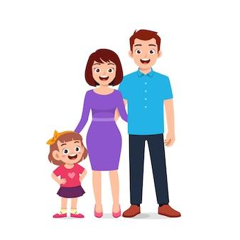 Jolie petite fille avec maman et papa ensemble