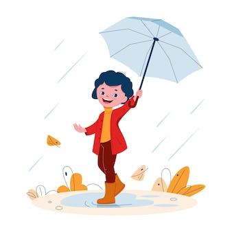 Jolie petite fille avec un parapluie en bottes de caoutchouc sous la pluie. illustration vectorielle en style cartoon.