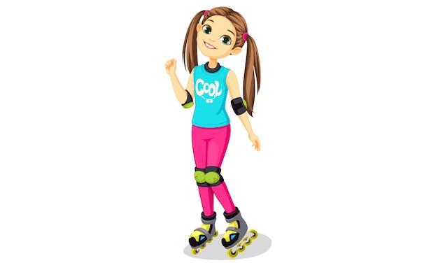Jolie petite fille avec des patins