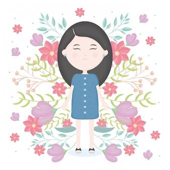 Jolie petite fille avec personnage de décoration florale