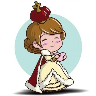 Jolie petite fille portant la reine