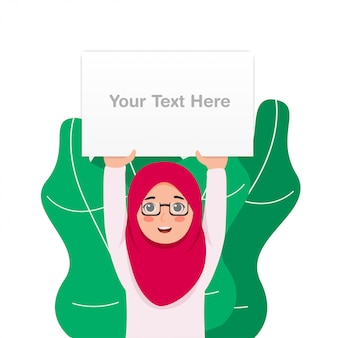 Jolie petite fille portant le tableau blanc blanc de levage de hijab