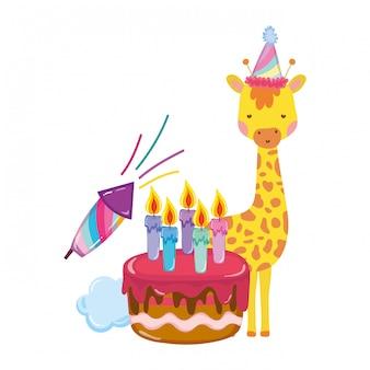 Jolie et petite girafe avec personnage de chapeau de fête