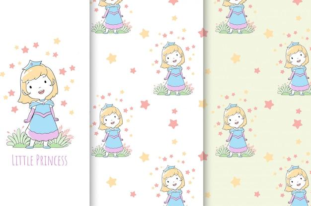 Jolie petite illustration de princesse, carte et modèle sans couture.