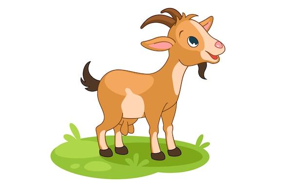 Jolie petite illustration vectorielle de dessin animé de chèvre heureux