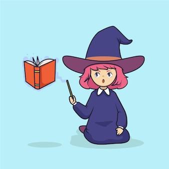 Jolie petite illustration vectorielle de sorcière