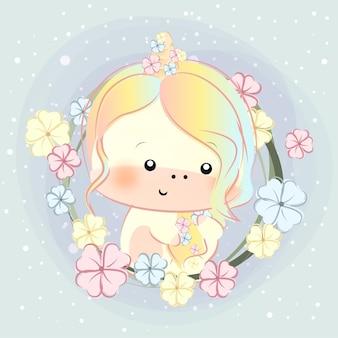 Jolie petite licorne et cheveux fleuris
