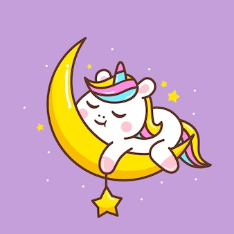 Jolie petite licorne dormant dans la lune