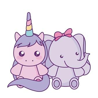 Jolie petite licorne avec le personnage de bébé éléphant