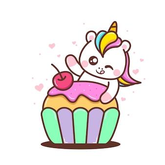 Jolie petite licorne avec petit gâteau mignon