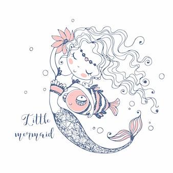Jolie Petite Sirène Avec Un Poisson. Style De Griffonnage. Vecteur. Vecteur Premium