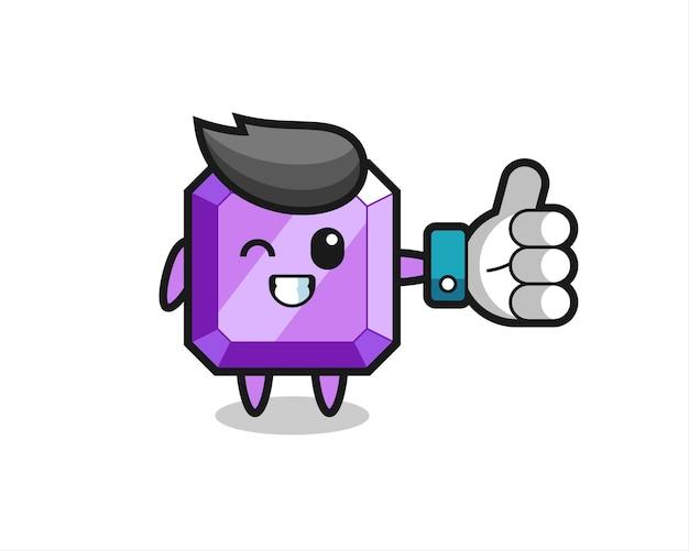 Jolie pierre précieuse violette avec symbole de pouce levé sur les médias sociaux, design de style mignon pour t-shirt, autocollant, élément de logo