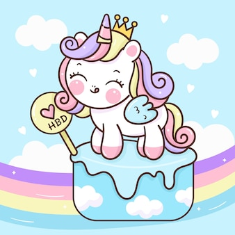 Jolie princesse licorne sur cupcake avec arc-en-ciel kawaii