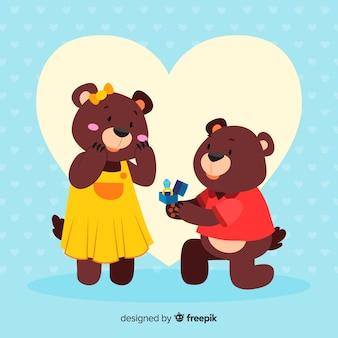 Jolie proposition de mariage avec style cartoon