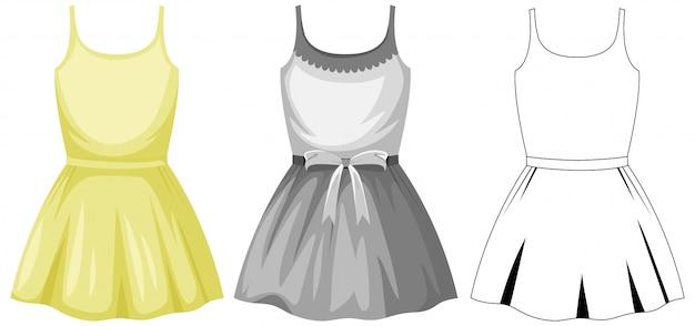 Jolie robe féminine sur fond blanc