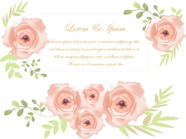 Jolie rose douce sur la carte de mariage