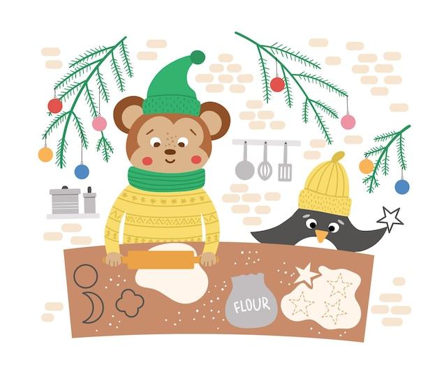 Jolie scène de préparation de noël avec des biscuits de singe et de pingouin. illustration d'hiver avec des animaux. conception de carte drôle. impression du nouvel an avec des personnages souriants