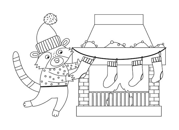 Jolie scène de préparation de noël en noir et blanc avec raton laveur en chapeau et pull avec bas et cheminée. illustration de la ligne d'hiver avec animal et cheminée. conception de carte drôle. imprimé nouvel an