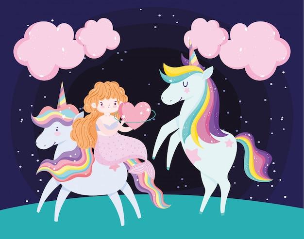 Jolie sirène avec coeur et adorables licornes