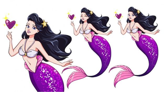 Jolie sirène de dessin animé tenant un coeur magique. cheveux noirs et queue de poisson violette brillante.
