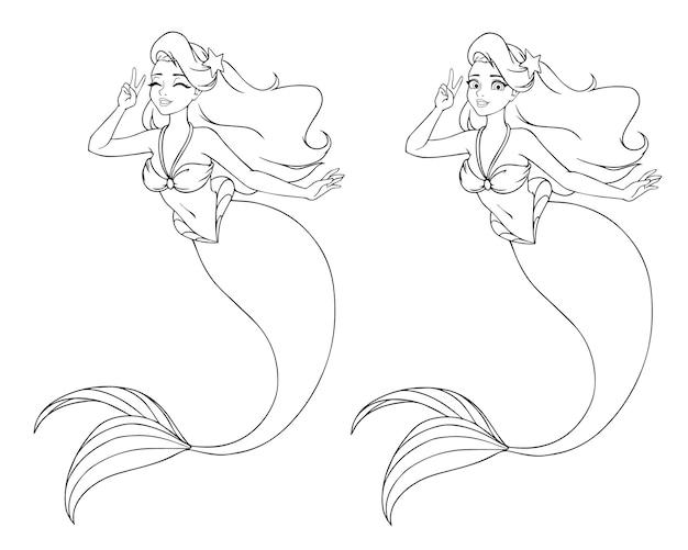 Jolie sirène de dessin animé utilisant le signe v. versions yeux ouverts et fermés.