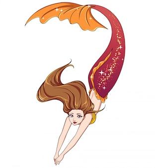 Jolie sirène de natation de dessin animé.