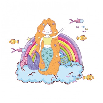 Jolie sirène avec nuages et arc-en-ciel