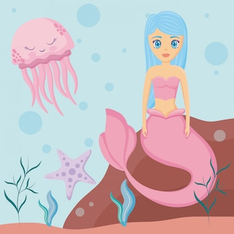 Jolie sirène avec poulpe et étoile de mer