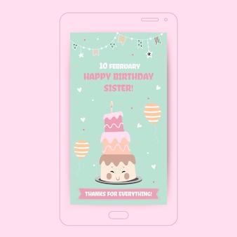 Jolie soeur pastel joyeux anniversaire! histoire instagram