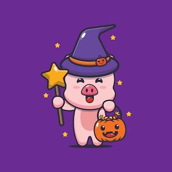 Jolie sorcière de cochon avec une baguette magique portant une citrouille d'halloween illustration mignonne de dessin animé d'halloween