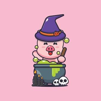 Jolie sorcière de cochon faisant des potions illustration de dessin animé mignon halloween