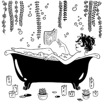 Jolie sorcière dans le style pin-up prend une illustration de bain
