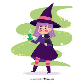 Jolie sorcière d'halloween avec des animaux